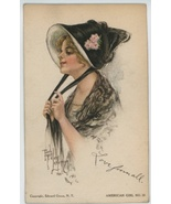 American Girl vintage postcard artist signed Fi... - $19.00