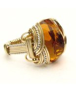 Wire Wrap Golden Citrine Two Tone Sterling Silv... - $175.00
