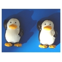PENGUIN BUTTON EARRINGS-Happy Feet March Penguins Funky Jewelry - $6.97