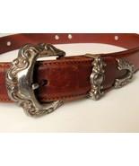"Fossil belt with fancy buckle, conchos. Size 32"" medium.  - $19.99"