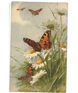 butterflies daises watercolor vintage postcard artis C Kleint signed flo... - $12.00