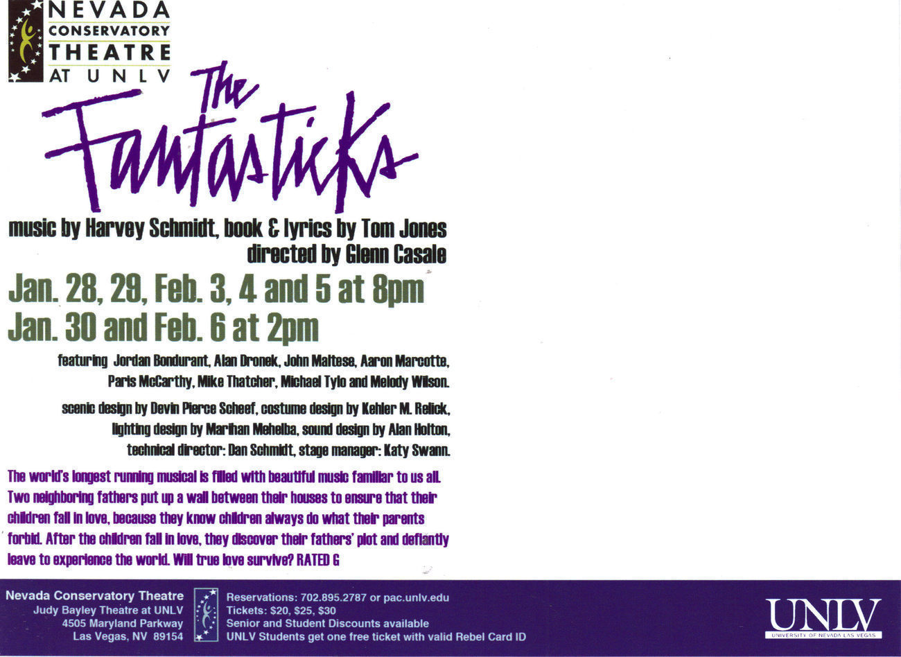THE FANTASTICKS Music by HARVEY SCHMIDT Vegas Promo Card