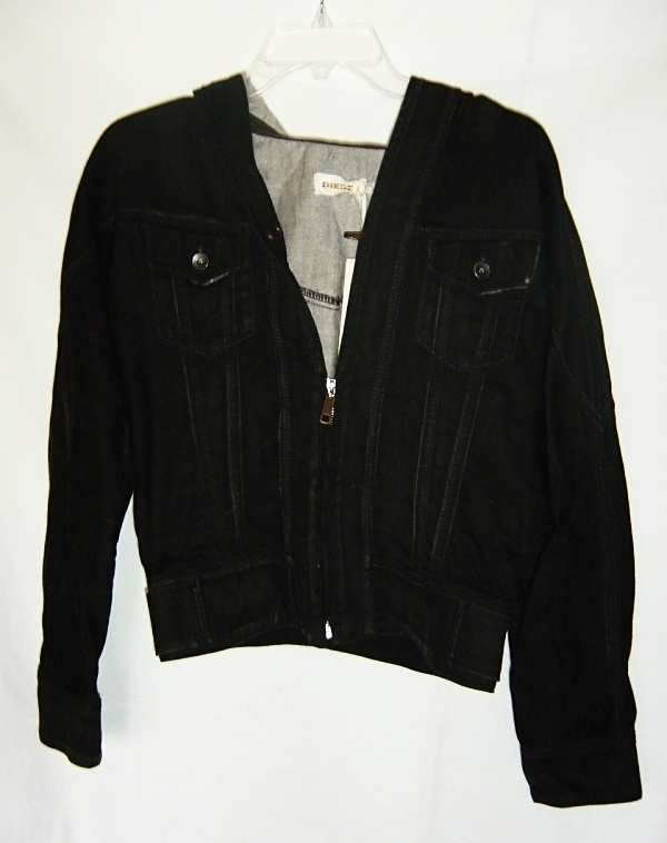 Diesel Hooded Black Denim Jacket NWOT