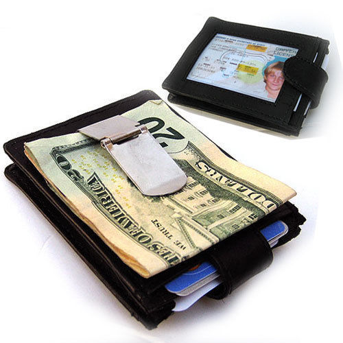 Primary image for BLACK GENUINE LEATHER MONEY CLIP THIN. Credit ID Wallet. Holder Nice