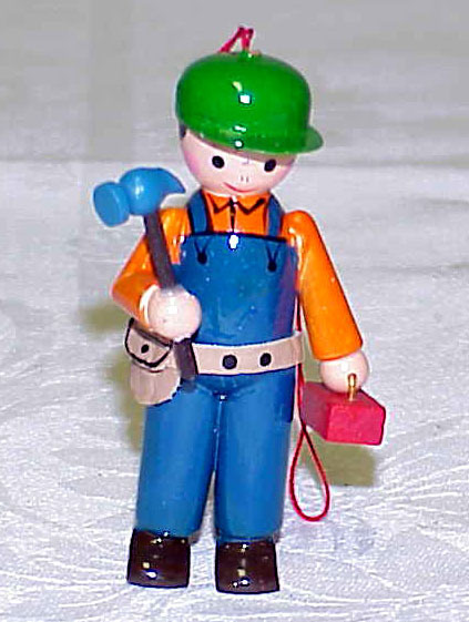 Primary image for Vintage Plumber/Carpenter/Electrician Wood Christmas Ornamen