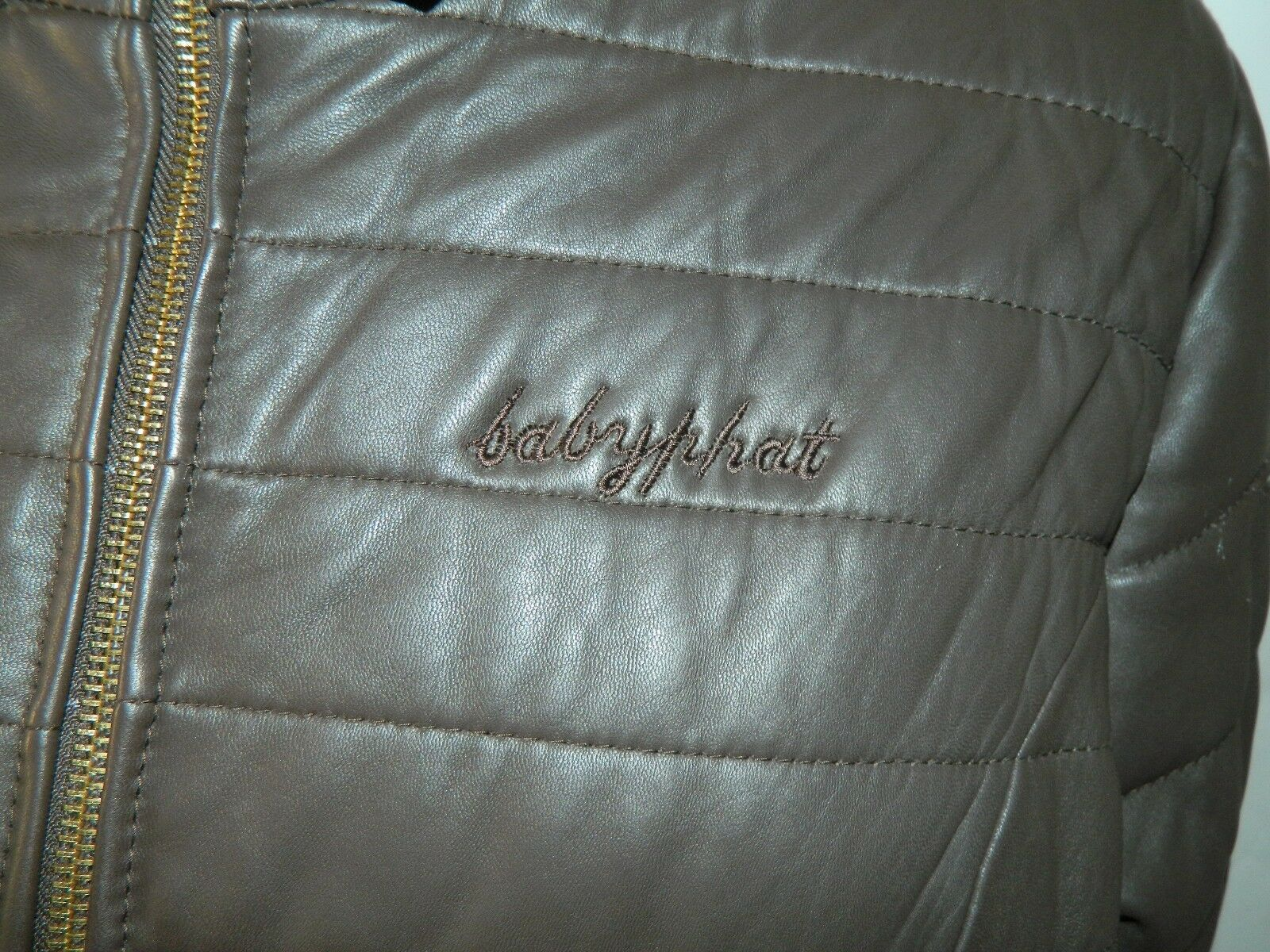 BABY PHAT Jacket Puffer Leather Kimora Lee Simmons Brown Coat XX-Large image 3
