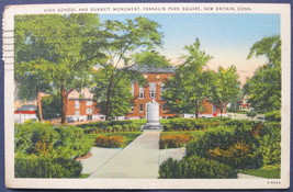 American Art, White border, Linen Postcard, High School and Monument at ... - $6.00