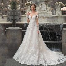 New Celeb Designer Long Sleeve Wedding Dress O-Neck Appliques Lace Bridal Weddin