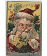 Santa Xmas vintage postcard St Nicholas series wink 1908 red Victorian h... - $9.99