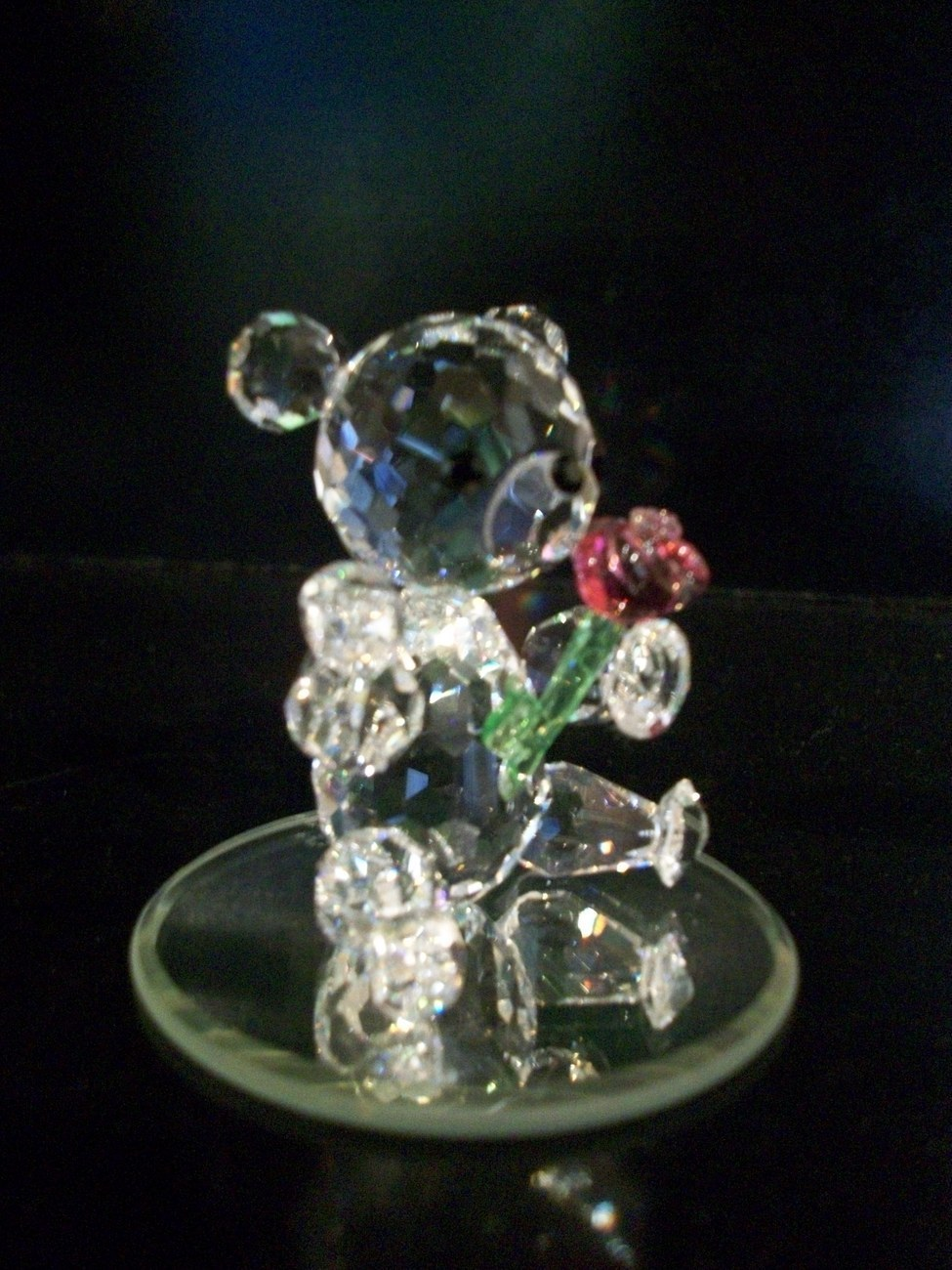 Preciosa Crystal Bear With Rose, New in Box