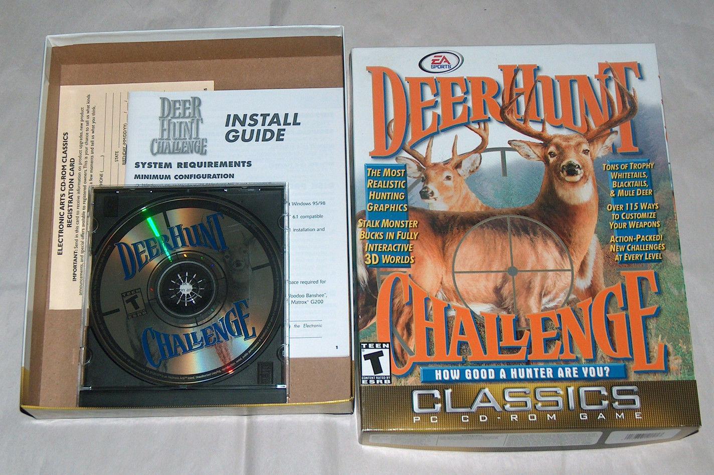 RARE EA Sports Deer Hunt Challenge 3D Video Game PC CD-ROM w/ BOX, GUIDE, MANUAL