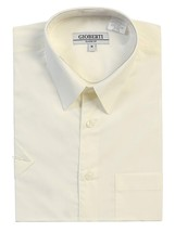 Gioberti Men's Short Sleeve Solid Button Up Dress Shirt Ivory Off White 2XL