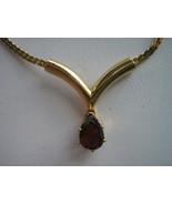 Gold Toned Faux Garnet Teardrop Necklace - $10.00