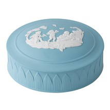 Wedgwood Jasper Classic White On Turquoise Trinket Box New In The Box Sealed - $168.29