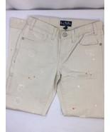 Les Halles Tan Color Jeans Size 29 100% Cotton Orange Splats  distressed... - $22.44