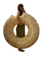 Swim About Large Donut Swim Ring Tube Pool Inflatable Floats for Adults (White) image 3