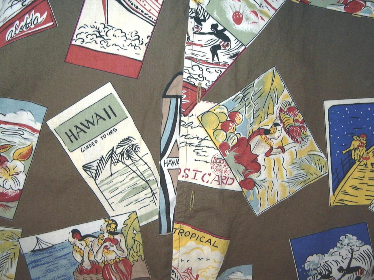HH3 Hawaiian Hawaii Postcards Hula Girls Tropical Cotton Shirt size 38