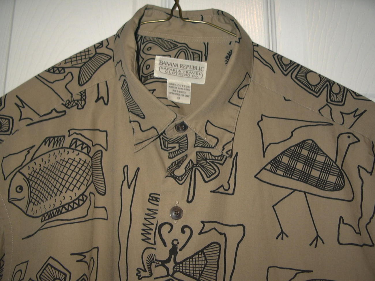 HH1 Hawaiian Tribal Tiki Safari Cotton Shirt Banana Republic size M 38