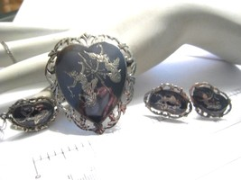 Vintage Sterling Silver Siam Niello Goddess Set  Necklace Earrings Brooch - $85.50