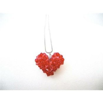 Passion Jewelry Red Puffy Heart Swarovski Crytal Necklace