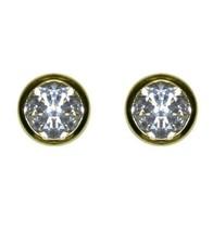 Bezel Set Cubic Zirconia 14K GEP Stud Earrings-10mm-CZ - $17.82