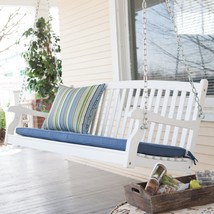 Traditional Country White Hardwood Slatted Patio Porch Swing 4 Foot or 5... - $189.95