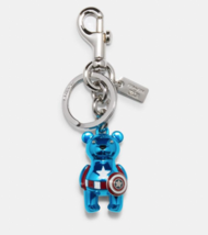 Coach X Marvel Captain America Blue Bear Bag Charm Key Chain Ring Limite... - $49.49