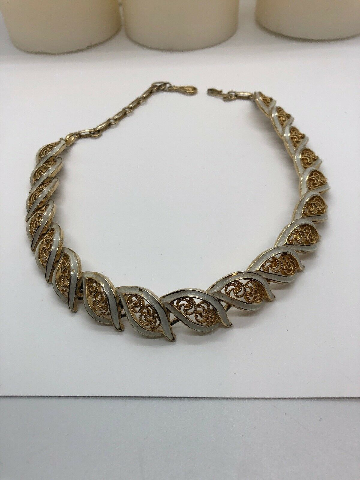 Vintage Signed Coro Goldtone  Beige Enamel Choker - Enamel Wear - $12.87