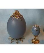 Decorated Blue Chicken Egg Swarovski Crystals Egg Art - $12.50