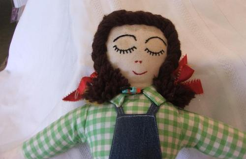 """Vintage 2 face Brunette 21"""" Tall Cloth Doll"""