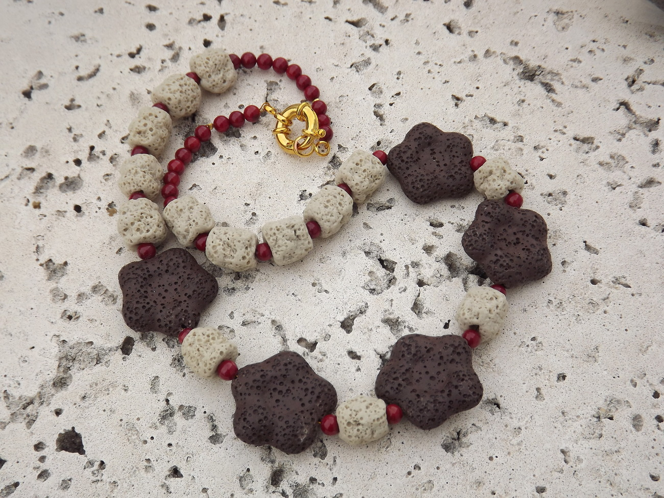 Lava Wonder-Chocolate Lava Flowers and Coral Necklace