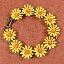 Genuine Vintage 1970s Hippie Retro Yellow Enamel Daisy Chain Link Bracelet  - $32.68