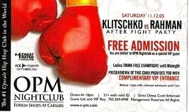 Klitschko Vs Rahman After Fight Party Promo Card - $3.95