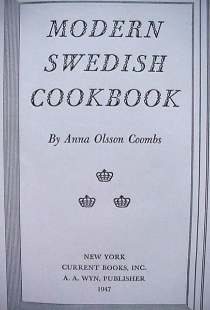 Modern Swedish Cookbook Cook Book Anna Coombs 1947