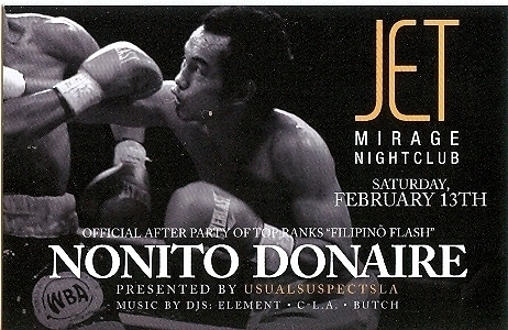 Nonito Donaire Boxing Official After Fight Party Mirage Las Vegas Promo Card