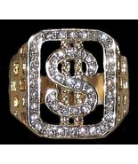 Iced Bling Dollar Sign Ring $ Size 11 Gold Plated New - $34.99