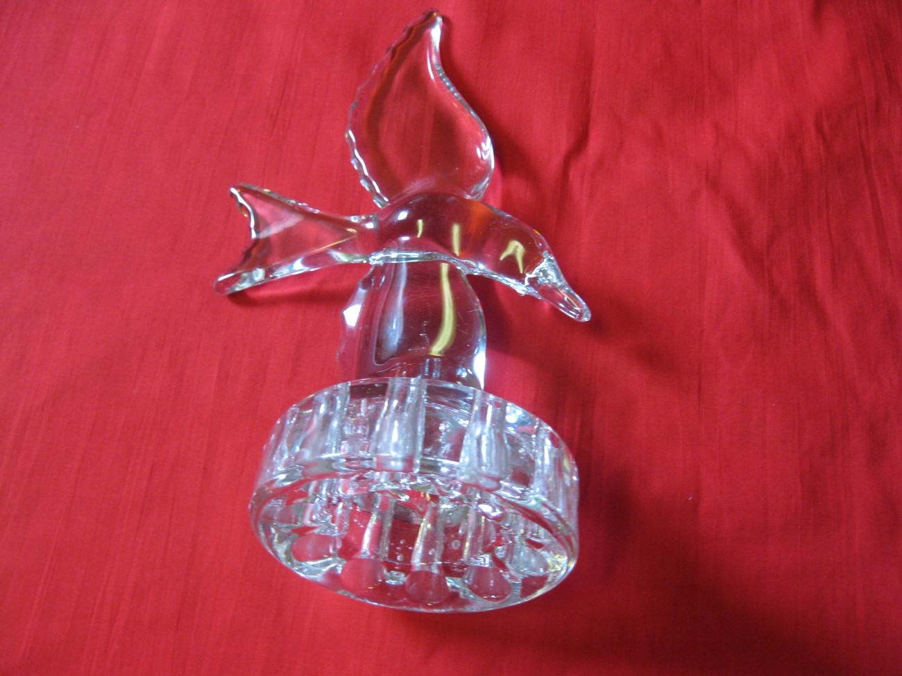 Vintage Cambridge Glass Crystal Seagull Flower Frog Paperweight USA