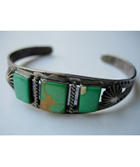 Old Navajo Bracelet with 3 Square Cut Green Tur... - $175.00