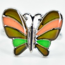 Kid's Fashion Silver Tone Butterfly Color Changing Fashion Adjustable Mood Ring