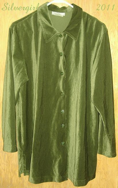 Thyme bright green ribbed velvet vintage shirt plus size