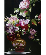 Hmong Floral Bouquet Silk Embroidery Museum Masterpiece Art Matted Frame... - $854.99