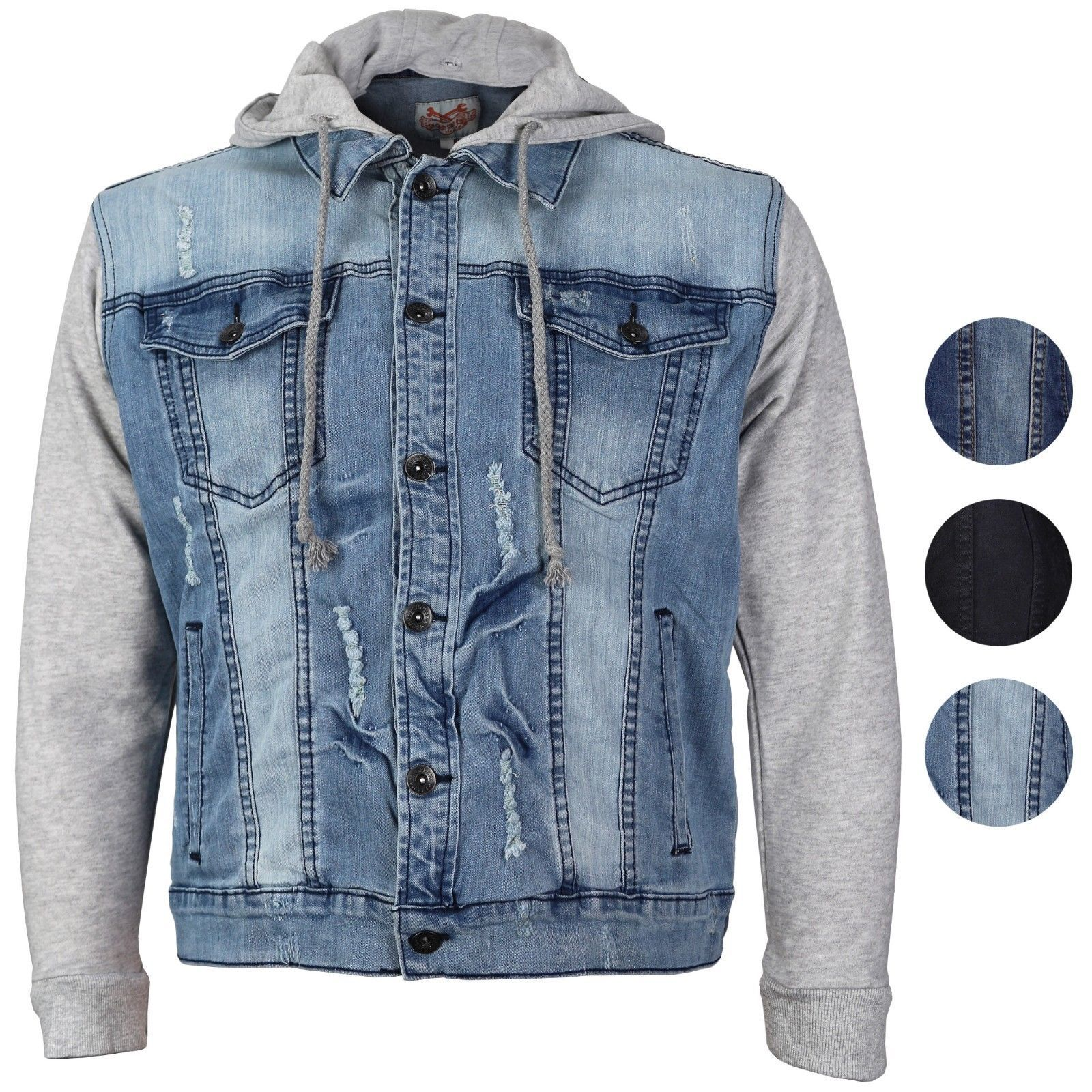 CS Men's Distressed Ripped Stretch Denim Jean Jacket with Removable Hood
