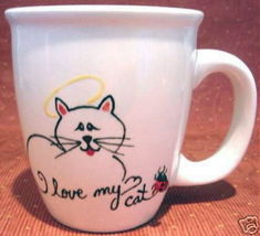 Personalized Ceramic Coffee Mug Angel Cat Handpainted - $12.50