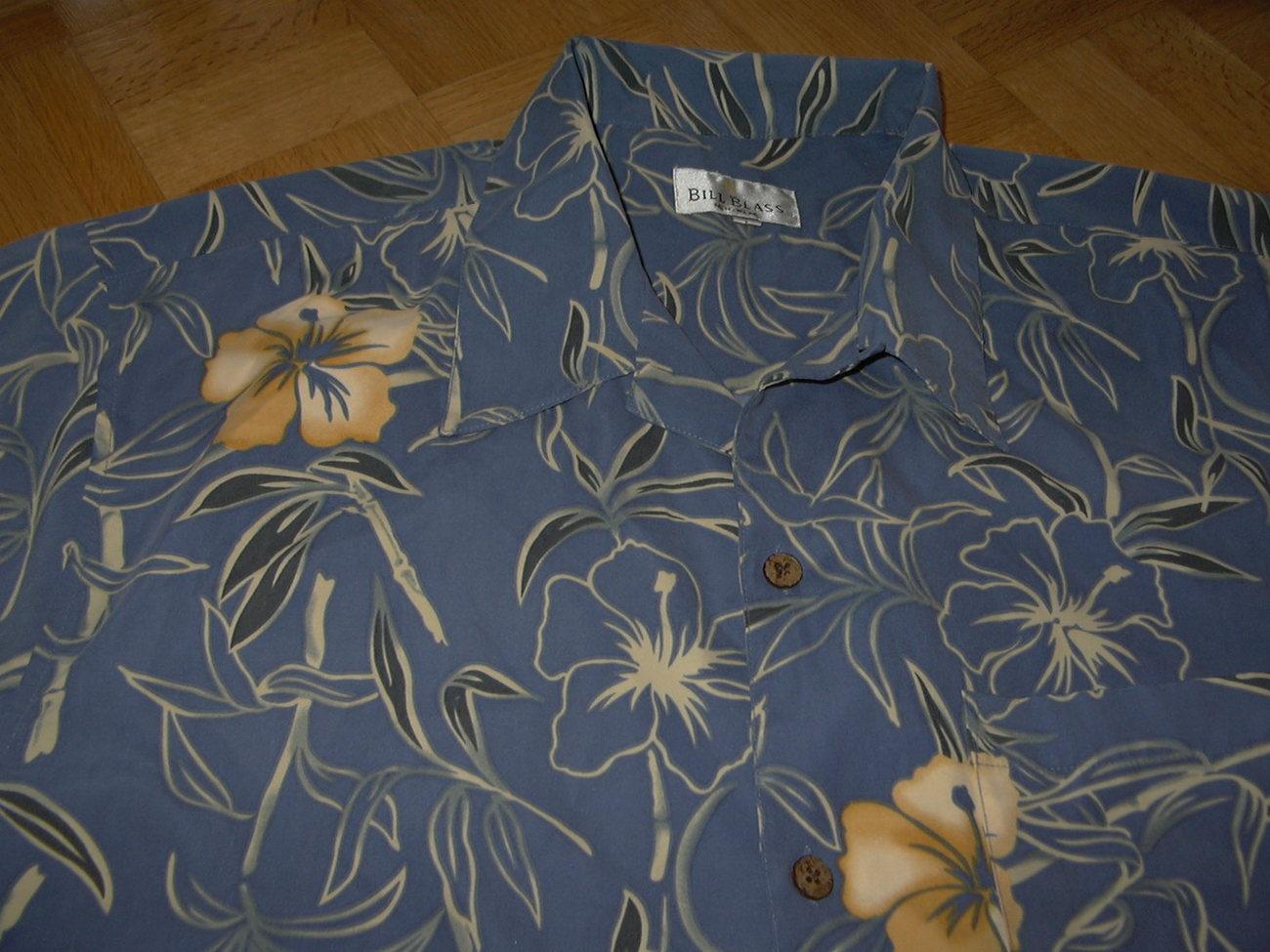 HH13 Hawaiian Tropical Bill Blass Shirt Blue Hibiscus XL 46