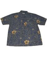 HH13 Hawaiian Tropical Bill Blass Shirt Blue Hibiscus XL 46 - $11.00