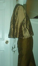Mary Michele Little Olive Green Wrap Top Blouse Sz 2 Beaded Buttons Asian Flare  - $29.00