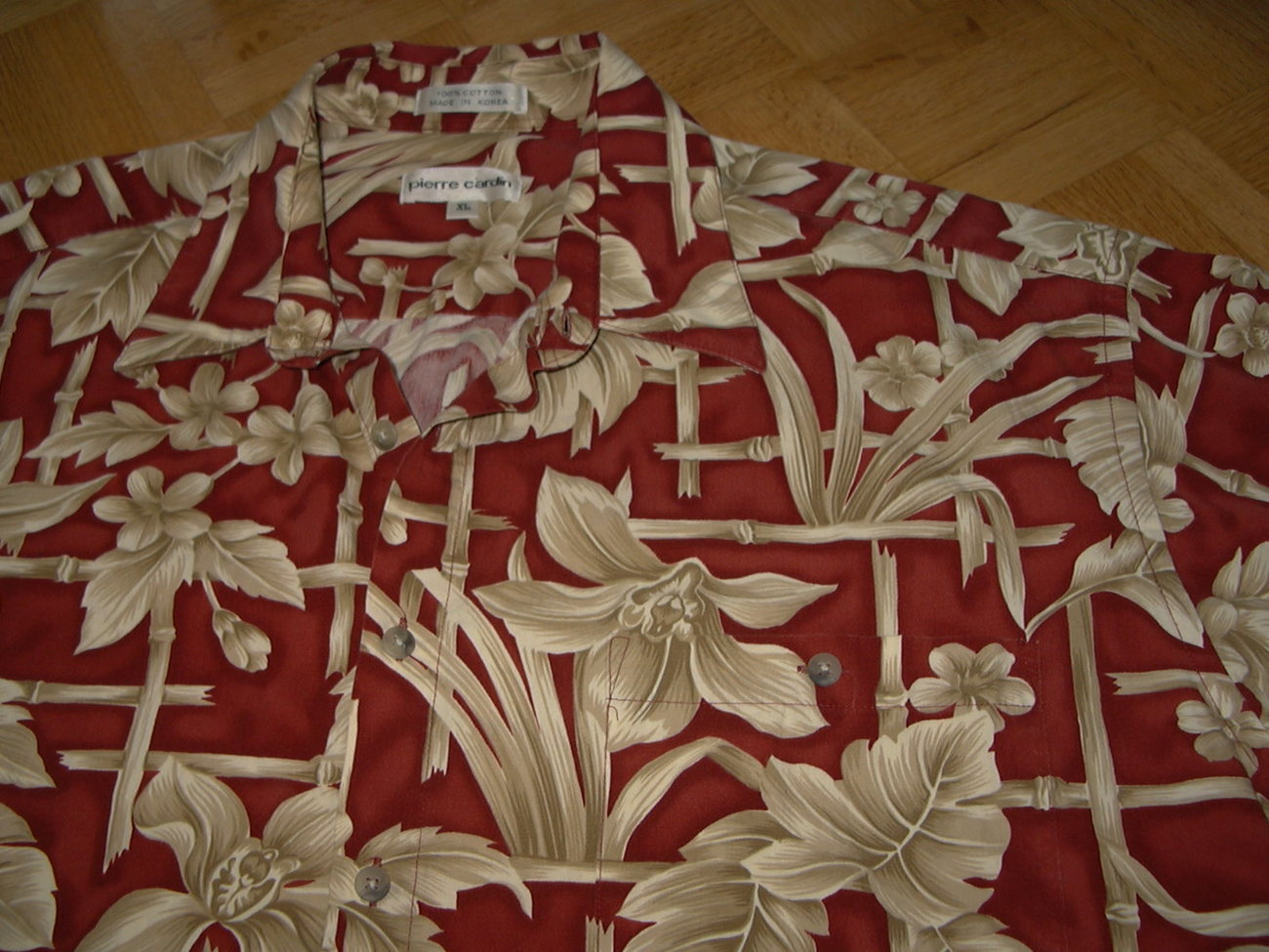 HH12 Hawaiian Pierre Cardin Cotton Tropical Shirt Red Bamboo Size 48 XL