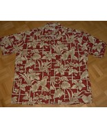 HH12 Hawaiian Pierre Cardin Cotton Tropical Shirt Red Bamboo Size 48 XL - $11.00
