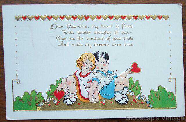 1940 PC Valentine's Day, Embossed Girl & Boy Holding Heart