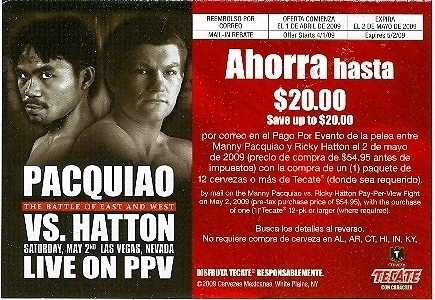 Manny Pacquiao / Ricky Hatton Rebate Form